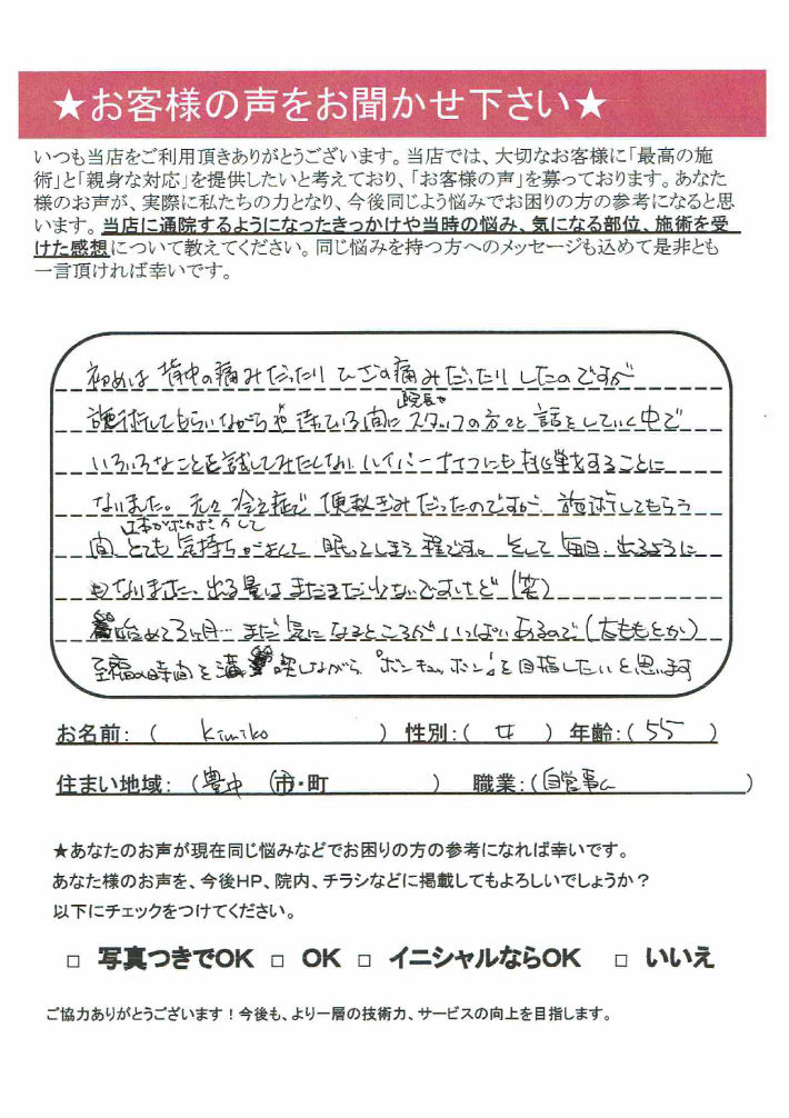 kimiko様 女性 55歳 豊中市 自営業