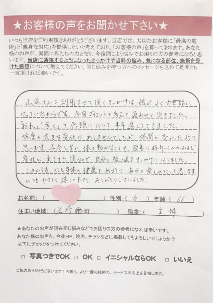 匿名 女性 66歳 尼崎市 主婦